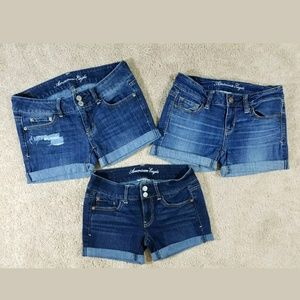 american eagle size 2 bundle of 3 cuffed shorts